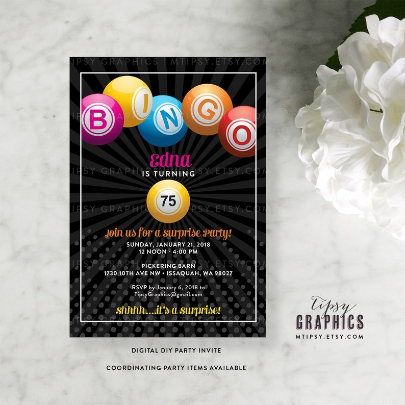 BINGO Fun Milestone Surprise Birthday Party Invitation By