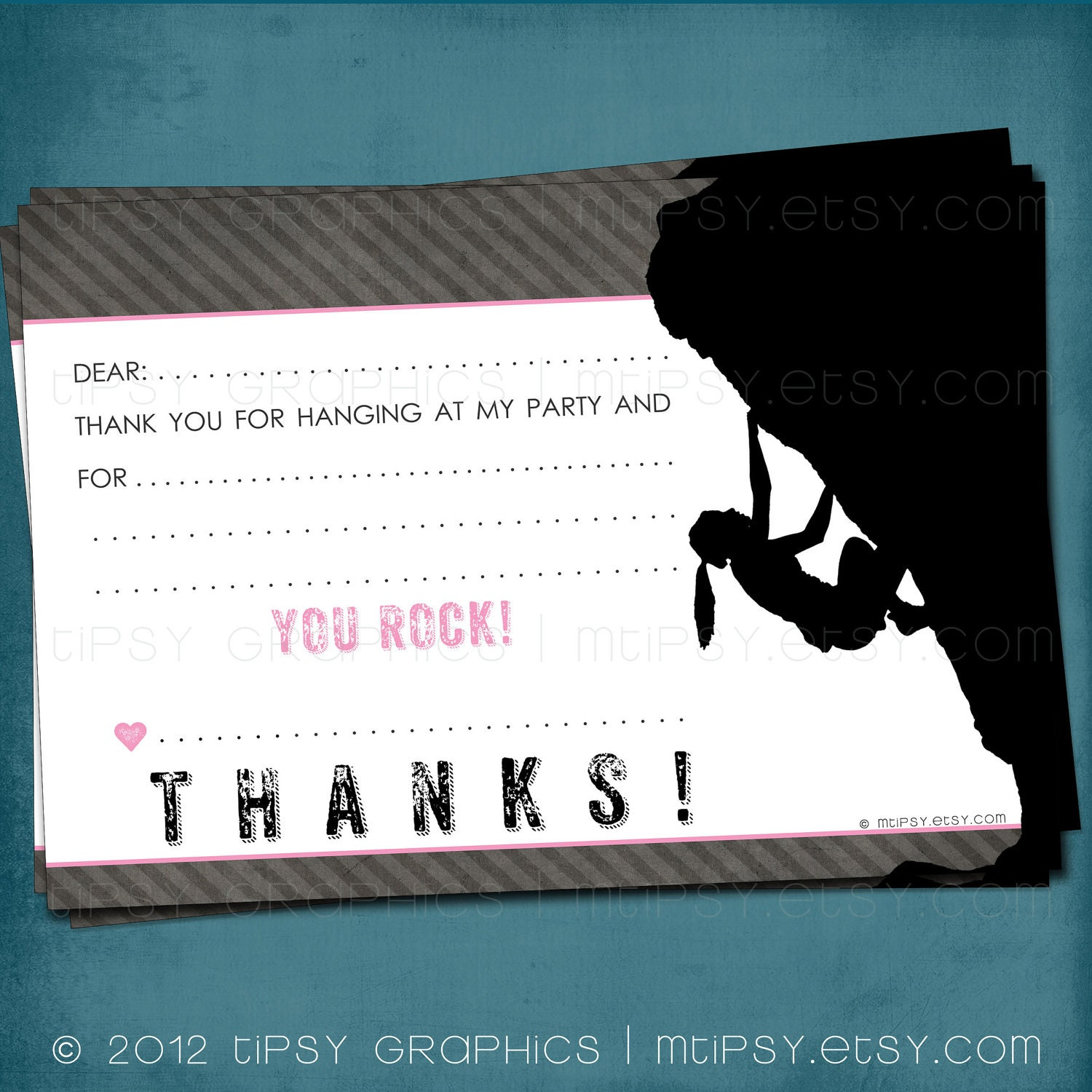 You Rock Climbing Party Thank Note For Big Kids By