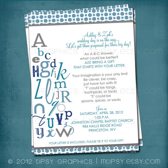 Abc Colorful Alphabet Baby Bridal Shower Invitation Bring Etsy