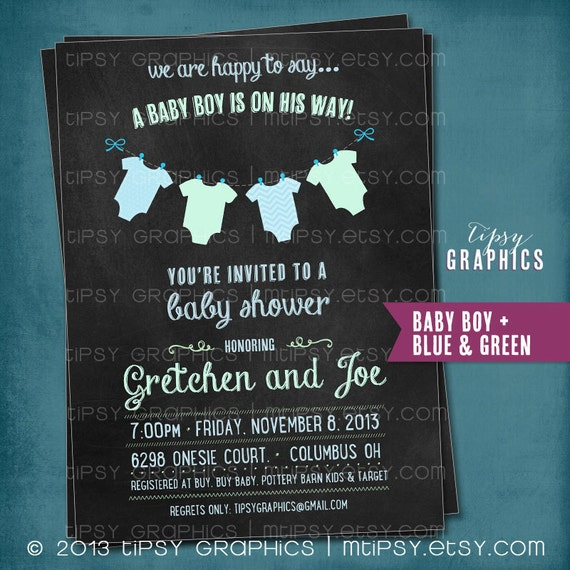 Chalkboard Onesie Baby Shower Or Gender Reveal Invitation By Tipsy