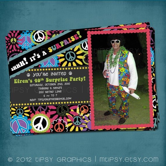 Groovy 70s Peace And Flowers Photo Card Surprise Party