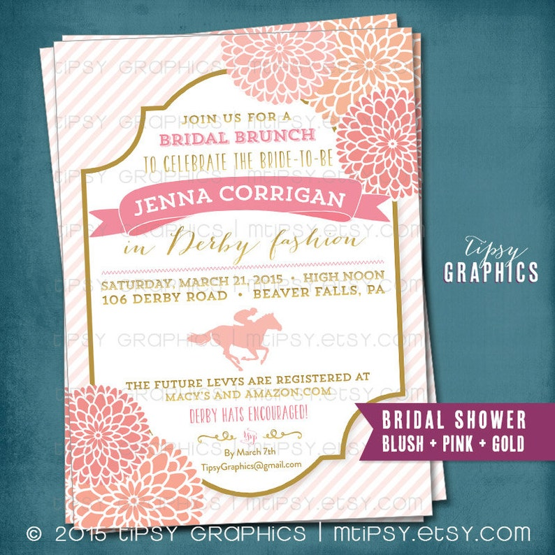 Kentucky Derby Birthday or Shower Party Invitation  Stripes and Mums  Any  text or Colors by Tipsy Graphics