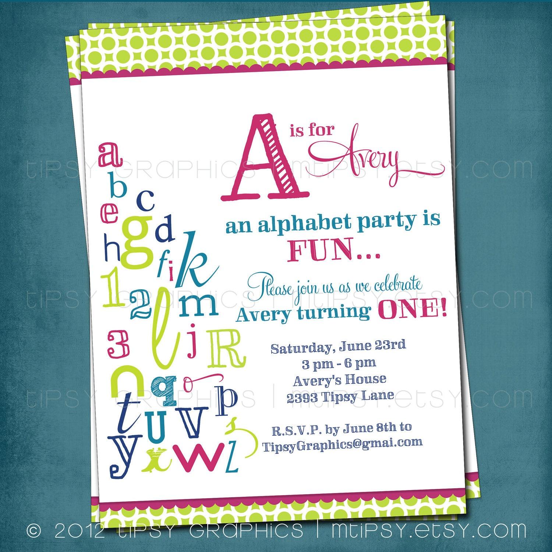 Alphabet Birthday Invitation Colorful Abc Library Invite Any Etsy