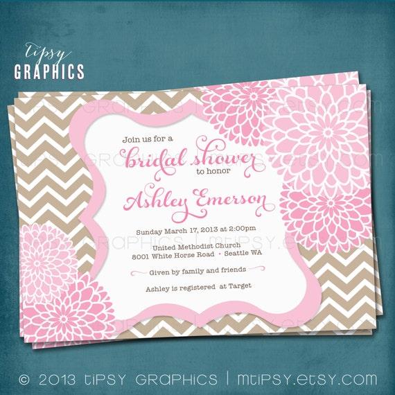 Mums Baby Shower: Chevron Mums Baby / Bridal Shower Invite. Beige Tan Pink