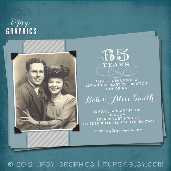65 Wedding Anniversary Gift: Blue & Silver. 65th Wedding Anniversary Invitation Or