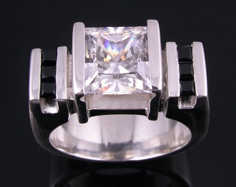 Sterling Silver Ring with CZ and Black Spinels by Hileman