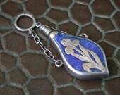 antique vintage art deco nouveau victorian sterling silver enamel DGRM chatelaine perfume bottle pendant