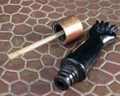 vintage antique lucky black pressed glass pendant figa fist hand dangling charm amulet big perfume bottle