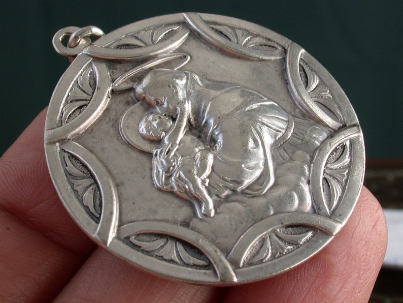 vintage antique art deco victorian sterling silver religious puffy medal charm pendant 2 side heart of Jesus /&  st anthony