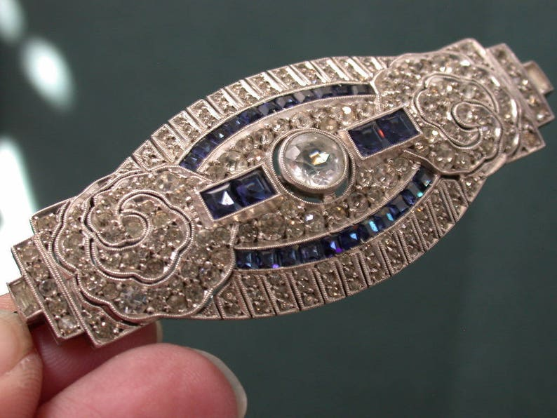vintage antique art deco silver sterling 935 punch rhinestones paste stones  french blue lab sapphires big pin brooch beautiful micro-paym