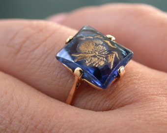 antique vintage deco victorian 18k  paste blue sapphire stone intaglio carved warrior's face head ring free resize MICRO-PAYM AVAILABLE