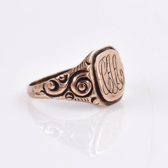 "Antique 14k Victorian Signet Ring ""CAA"", Antique,… - image 2"