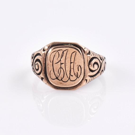 "Antique 14k Victorian Signet Ring ""CAA"", Antique,… - image 1"