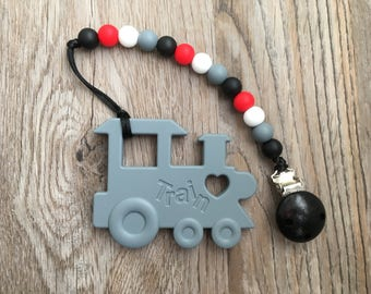 Grey & Red Train Silicone Teething Toy and Clip