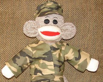 Sock Monkey, Military Monkey, Army Monkey, Red Heel Sock Monkey, Stuffed Animal, Stuffed Monkey, Plushies