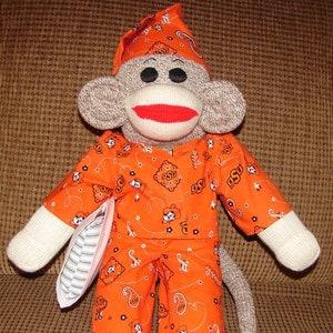Large Size Monkey Sock Monkey University of Oklahoma Sock Monkey Red Heel Sock Monkey OU Monkey