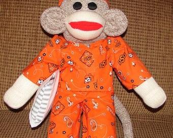 Sock Monkey, Large Size Monkey, Red Heel Sock Monkey, Oklahoma State Sock Monkey, OSU Monkey