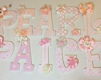 TWINS nursery decor -  girls Custom Nursery Wall Letters