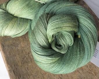Fields of Green - Hand Dyed 50/50 Merino Silk Lace Yarn