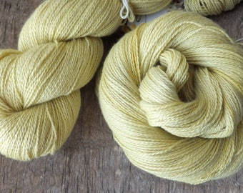Naturally Dyed with Goldenrod - Hand Dyed 55/45 Silk Cashmere Lace Yarn