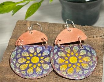 Boho Earrings, Bohemian Jewelry, Mandala Earrings, Handmade Earrings, Gift For Friend