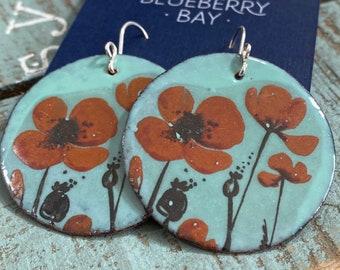 Boho Earrings, Red Flower, Flower Earrings, Handmade Earrings, Gift For Friend