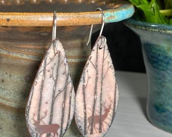 Deer Earrings, Handmade Earrings, Wildlife Earrings, Teardrop Earrings, Gift for Friend
