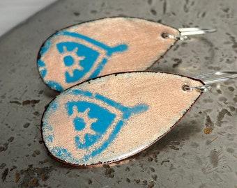 Blue Teardrop Earrings- Boho Teardrop Earrings- Bohemian Jewelry- Minimalist Earrings- Copper Earrings- Enameled Copper Jewelry