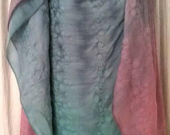 Silk/cotton embroidered yardage Green Blue Pink Purple