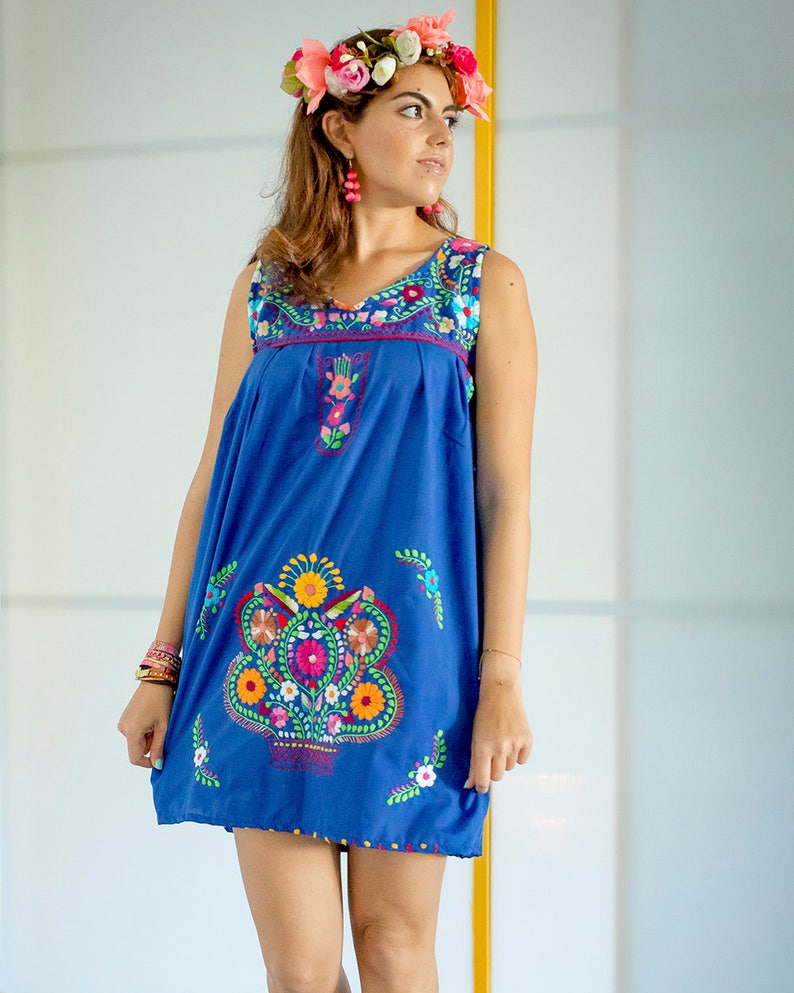 00518e5e19c Sale Summer Mexican embroidered Chelow Dress Royal