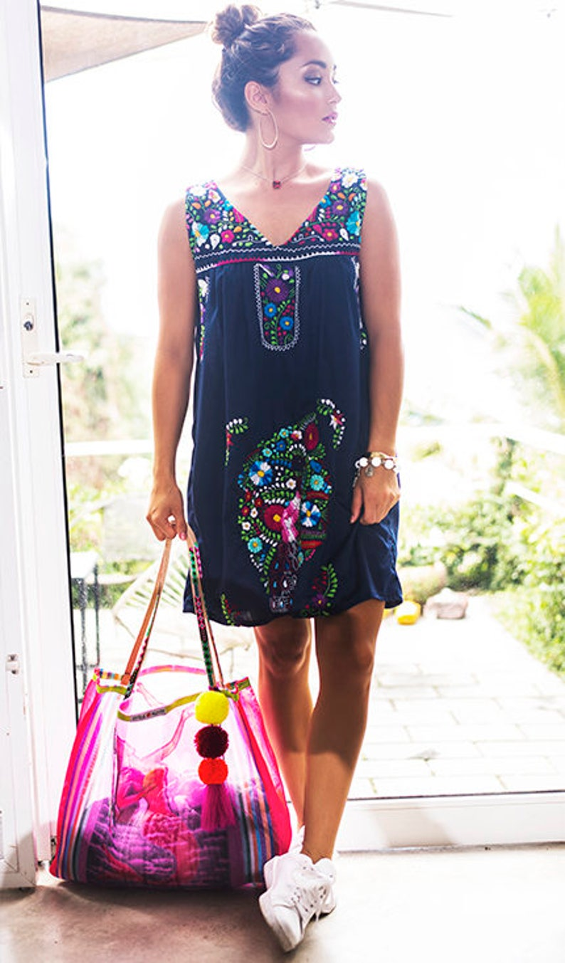 58001be2cef SALE Mexican Embroidered Dress Navy Blue