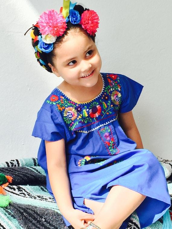 1e35a381b Vestido Bordado Mexicano de Verano para Niñas