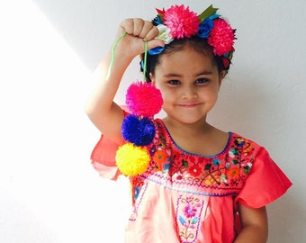 Mexican Embroidered Girls Dress Coral