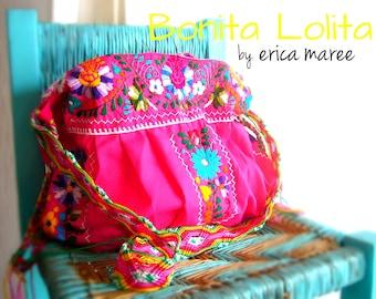 SALE Bohemian Embroidered Handbag Bonita Lolita Pink