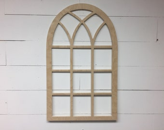 Unfinished Vintage Inspired 21x35 Vertical Arch Window frame gothic church screen- VA1