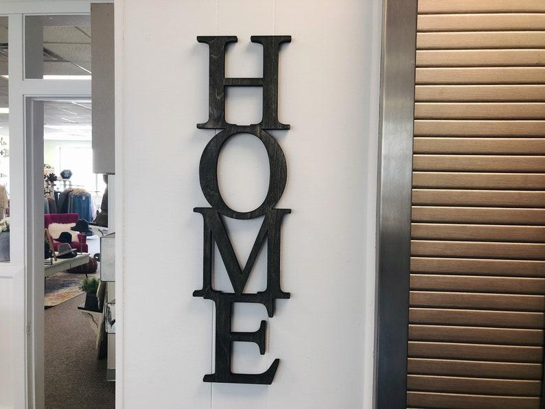 Home Vertical Word Wood Cut Wall Art Sign Decor