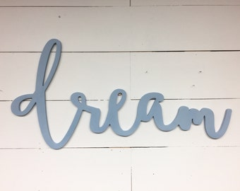 Painted Large Dream Word Wood Cut Wall Art Sign Decor Boho Abstract Design