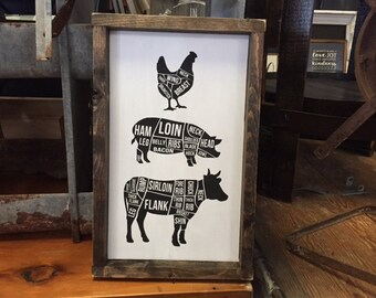 Butcher Print Chicken Pig Cow Distressed Framed Wood Sign