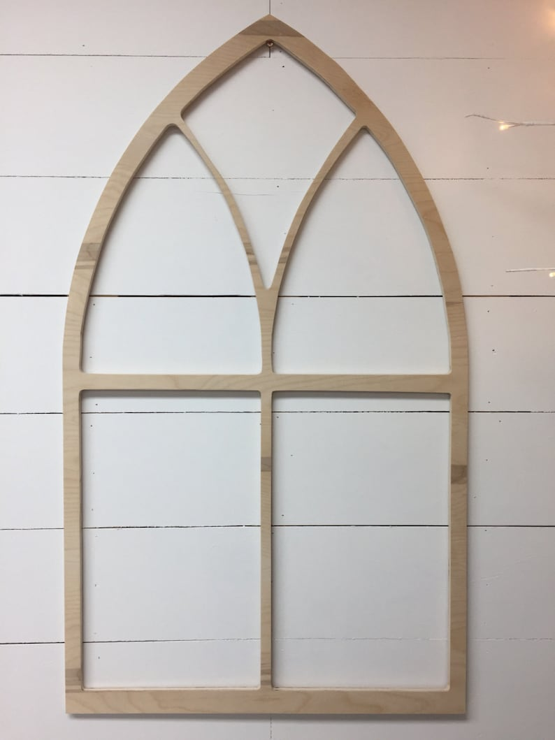 Vintage Inspired Tall Pointed Arch Window Wood Frame Unfinished- PT1