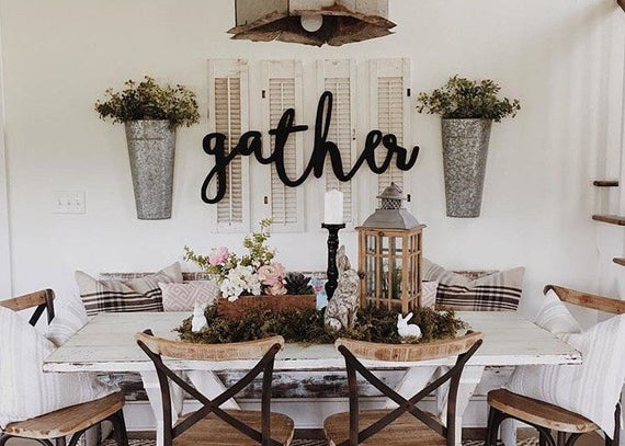 Gather Word Wood Cut Home Decor Wall Art Wall Sign Etsy