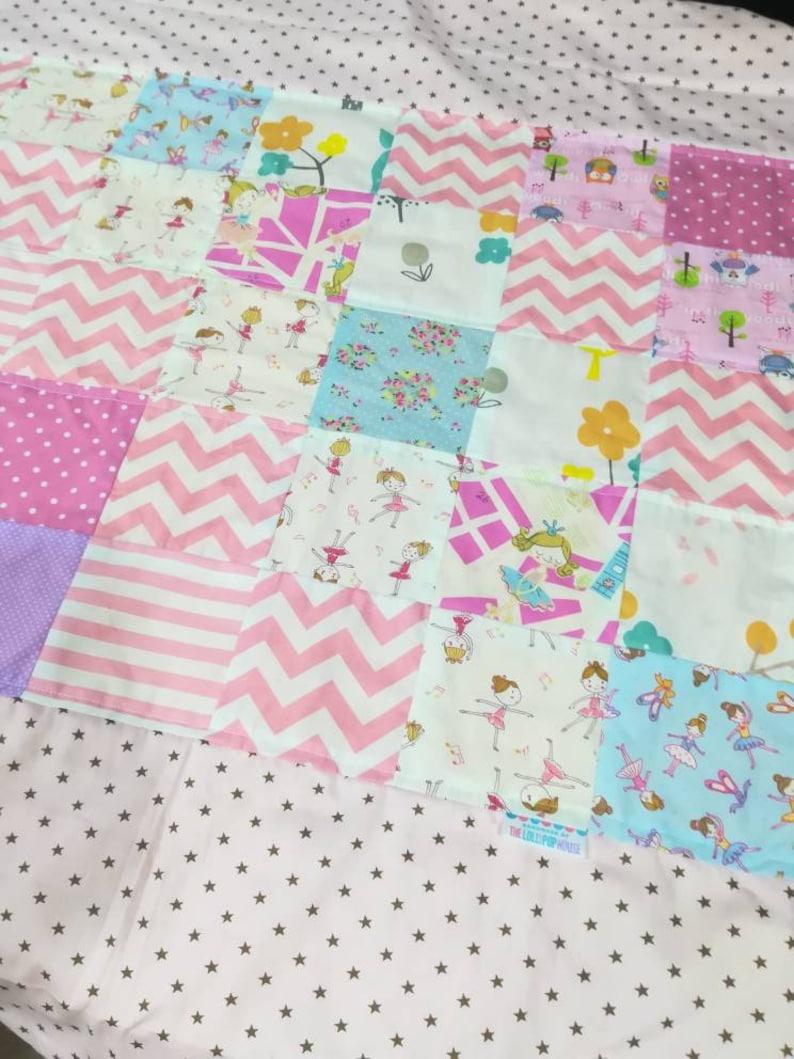 Baby girl blanket  Baby quilt  ballerina quilt  Car blanket image 0
