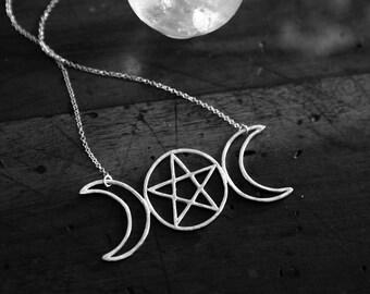 Esbat II. Triple-Moon Totem with Pentacle. OOAK (sterling silver - symbol of feminine energy, growth, evolution, mystery, psychic abilities)