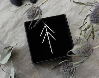 Zhingwaak. Pine Tree Totem. Unique (eco-friendly recycled sterling silver - symbol of good luck, prosperity, health, longevity, wisdom)