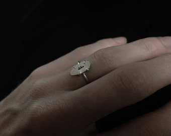Runic Solitaire ring. Bespoke, custom (sterling silver - handmade claw-setting - your choice of rune: Algiz, Othala, Ansuz, Jera, Dagaz ...)