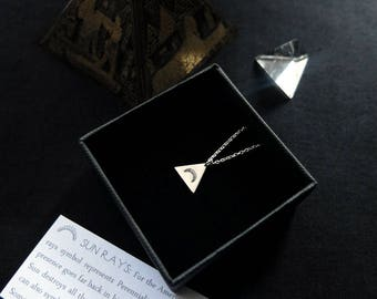 Pyramid Amulet. Bespoke, custom (sterling silver - triangle with your choice of design: ankh, moon, arrow, sun, native headdress ...)