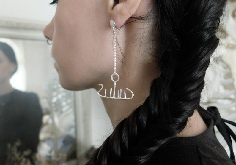 one of a kind Bespoke Norse Rock Art earrings sustainable recycled sterling silver unique Day Boat  Ship Dagskip Viking Petroglyph