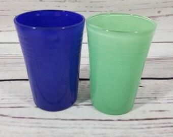 2 Rare Hazel Atlas Moderntone Plateonite Juice Glasses