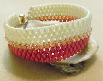 PATTERN Two Tone Super Duo Cuff Right Angle Weave Peyote Crystals