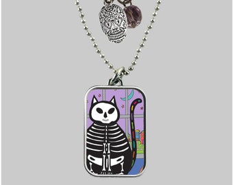 Pendant Day of the Dead Cat
