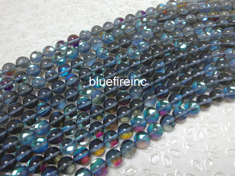 37 pcs beads 10mm round dark grey AB color synthetic moonstone beads